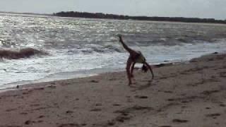 Moi en série de saut de main sur la plage...:)