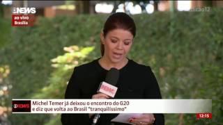 """Michel Temer deixa encontro do G-20 e diz que volta ao Brasil """"tranquilíssimo"""""""