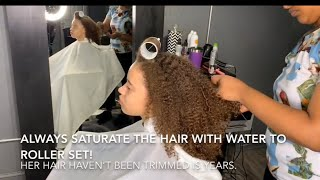 Video When she sees her hair straight for the first time! / The magic of roller set! MP3, 3GP, MP4, WEBM, AVI, FLV Juli 2019