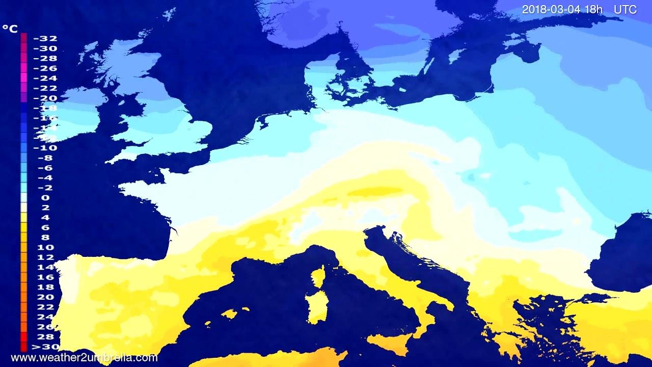 Temperature forecast Europe 2018-03-01