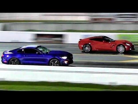 2015 ford mustang ecoboost vs 2014 corvette - 1/4 mile drag race