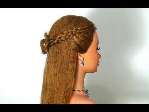 Прическа на средние волосы на каждый день с плетением на
