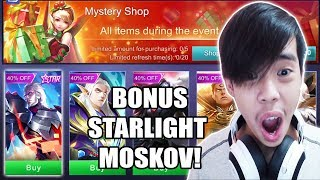 Video BORONG MYSTERY SHOP UNTUNG BANYAK DAPET BONUS SKIN STARLIGHT MOSKOV! - Mobile Legends Indonesia MP3, 3GP, MP4, WEBM, AVI, FLV Agustus 2018