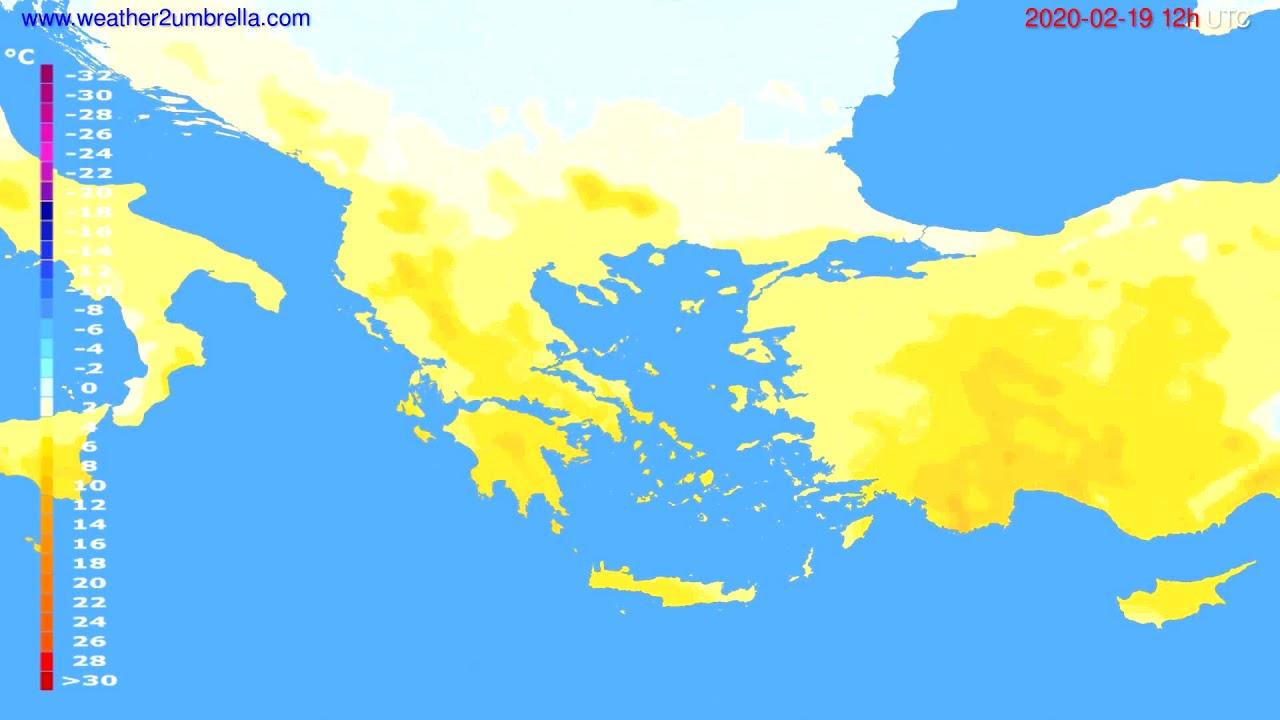 Temperature forecast Greece // modelrun: 12h UTC 2020-02-18