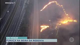 Incêndio atinge área de vegetação da rodovia Castello Branco em São Roque