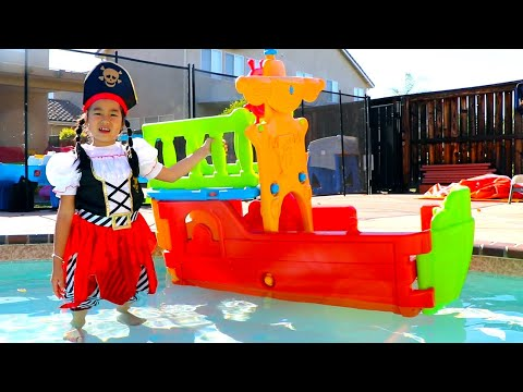 Jannie & Andrew Pretend Play with Toy Pirate Ships in the Pool for Kids
