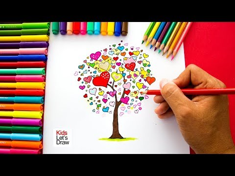 Dibujos de amor - Cómo dibujar un Árbol de Corazones (San Valentín) super fácil  How to draw a tree of hearts