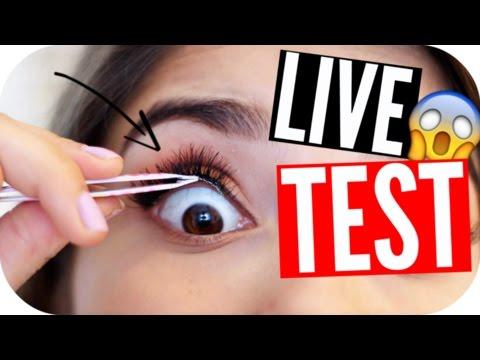 FALSCHE WIMPERN UNTER die ECHTEN Wimpern?! - LIVE TEST   Sanny Kaur