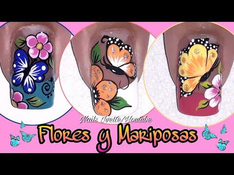 Decoracion de uñas - 3 Decoraciones de uñas con mariposas y flores