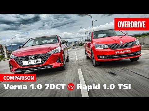 2020 Hyundai Verna 1.0 turbo vs Skoda Rapid 1.0 TSI | Comparison | OVERDRIVE