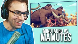 ZEUS, REI E MINOTAURO vs MAMUTES!?   Totally Accurate Battle Simulator Gameplay