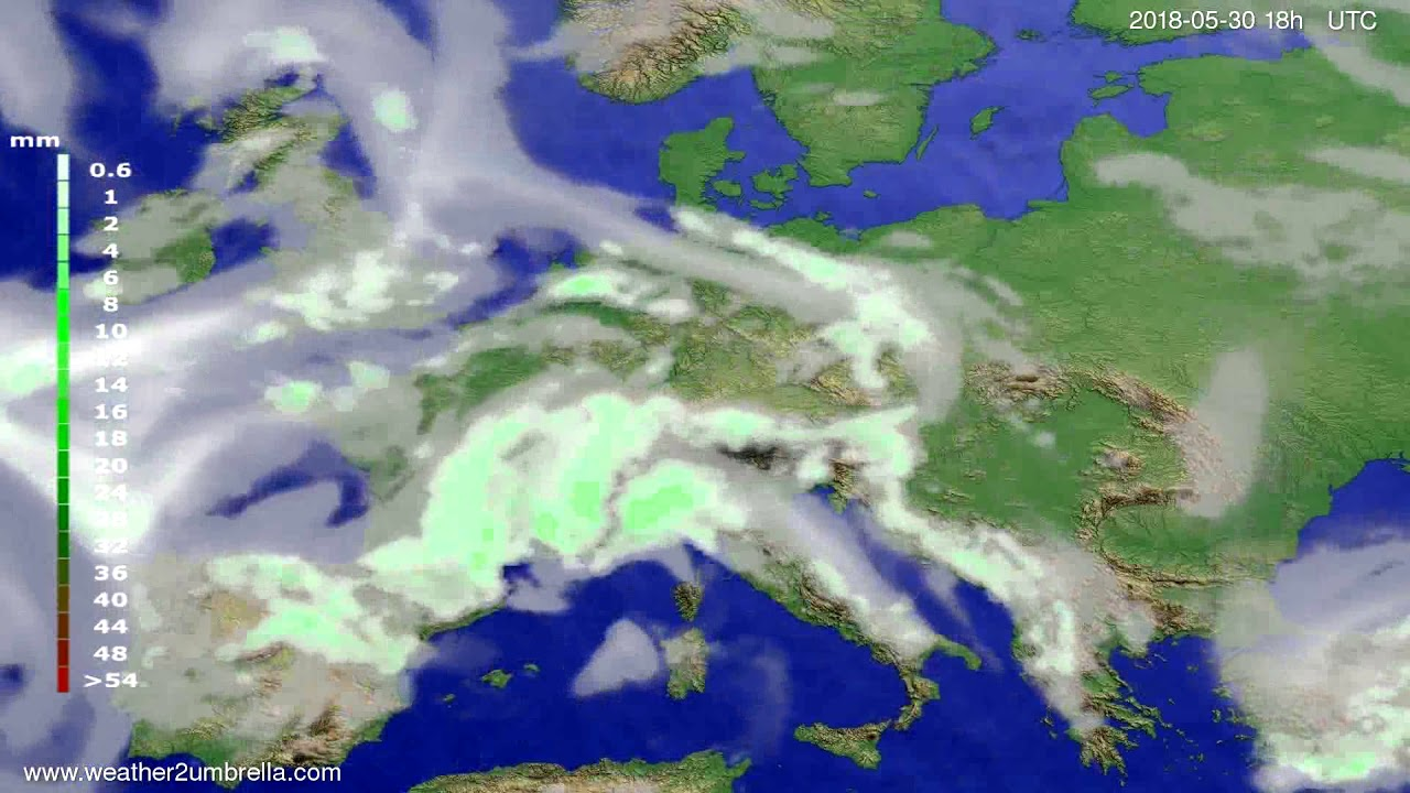 Precipitation forecast Europe 2018-05-27