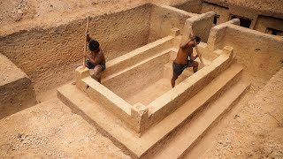 Dig to Build Most Creative Underground Temple Swimming Pool Construction Bushmen Designed #Part2