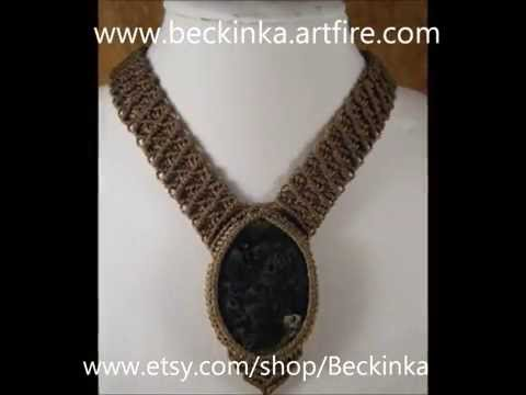 Handmade Gypsy Macrame Jewelry with Semi-Precious Gemstones OOAK by Beckinka .wmv