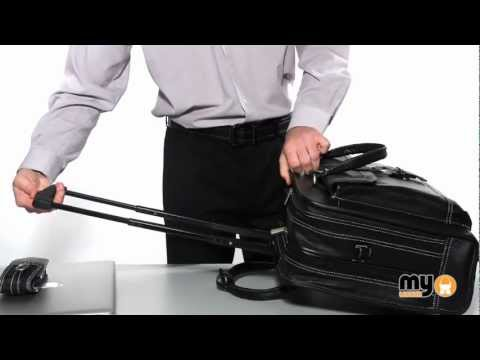 LEATHER LAPTOP TROLLEY / WHEELED BUSINESS BAG by Hideonline