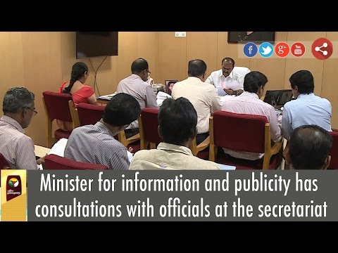 Minister-for-information-and-publicity-has-consultations-with-officials-at-the-secretariat