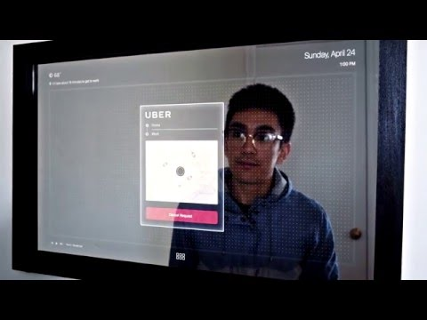 Touch Screen Mirror That Tells You You're Late For Work And Orders Uber