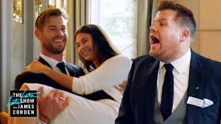 Video Chris Hemsworth v. James Corden - Battle of the Waiters - #LateLateLondon MP3, 3GP, MP4, WEBM, AVI, FLV Juni 2019