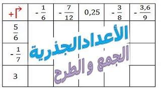 الرياضيات الثالثة إعدادي - الأعداد الجذرية المجموع و الفرق تمرين 16