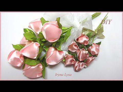 Бутон розы из атласной ленты канзаши