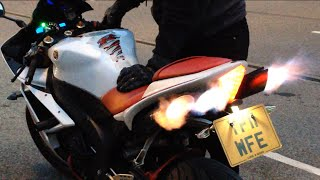 10. Yamaha R1 popping flames decat toce exhaust