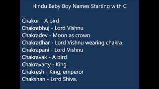 Indian Hindu Baby Boy Names starting with C