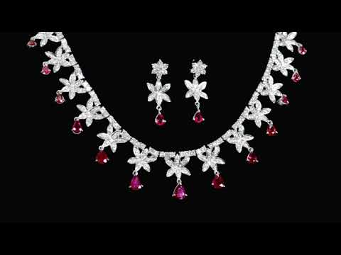 Lady's 14k White Gold 11ct (TW) Ruby and Diamond Necklace and Earrings Set