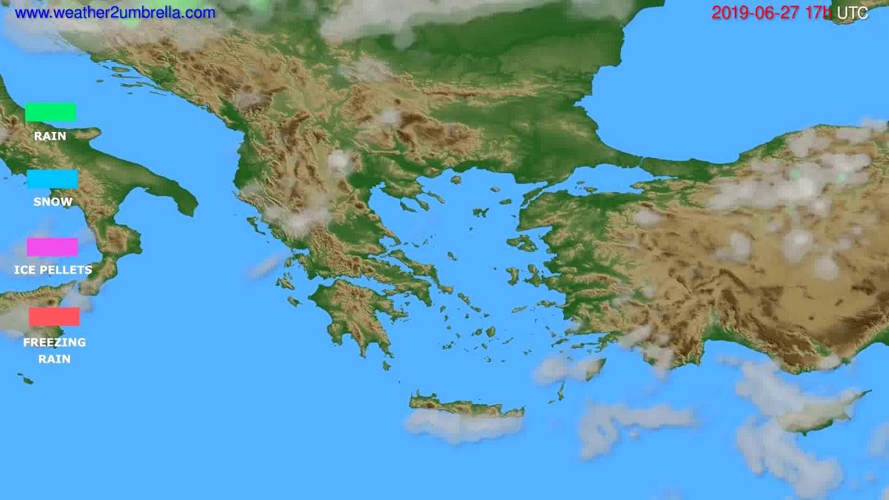 Precipitation forecast Greece // modelrun: 00h UTC 2019-06-26
