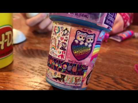 How to make Stress Balls with balloons, PlayDough and Lisa Frank cosmetic set unboxing