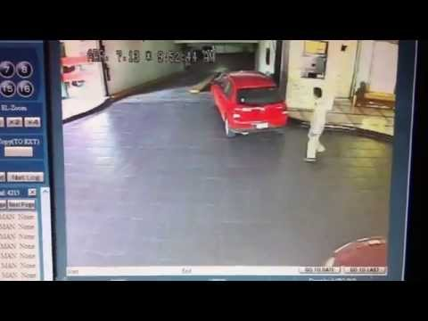 Security camera catches valet driver wrecking a vehicle