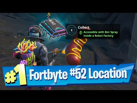 Fortnite Fortbyte #52 Location - Accessible With Bot Spray Inside A Robot Factory