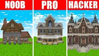 Minecraft NOOB vs. PRO vs. HACKER : HAUNTED MANSION BUILD CHALLENGE in Minecraft!