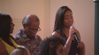 Rhianna Levi, 17, stunned a council leader into silence at a public meeting where she spoke about her family's trauma since the Grenfell Tower fire. Report by Nikhita Chulani.