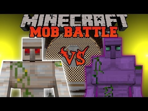Mutant Iron Golem Vs. Starconium Golem - Minecraft Mob Battle - Crazy Ores and Chocolate Quest Mod