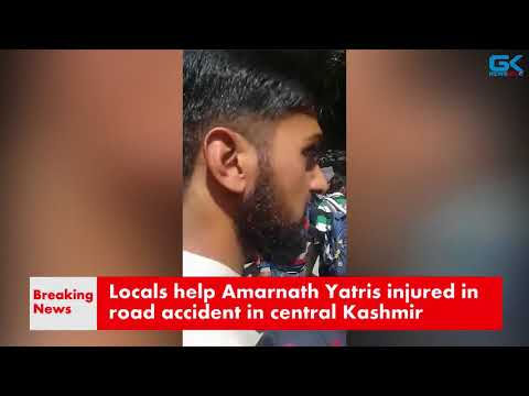 Locals help Amarnath Yatris injured in road accident in central Kashmir