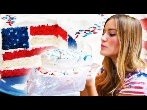 How To Bake An American Flag Cake / iJustine Cooking | iJustine