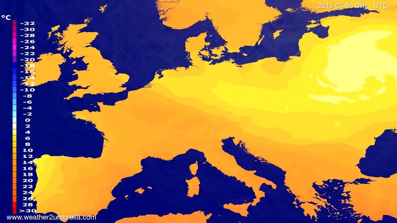 Temperature forecast Europe 2018-06-29