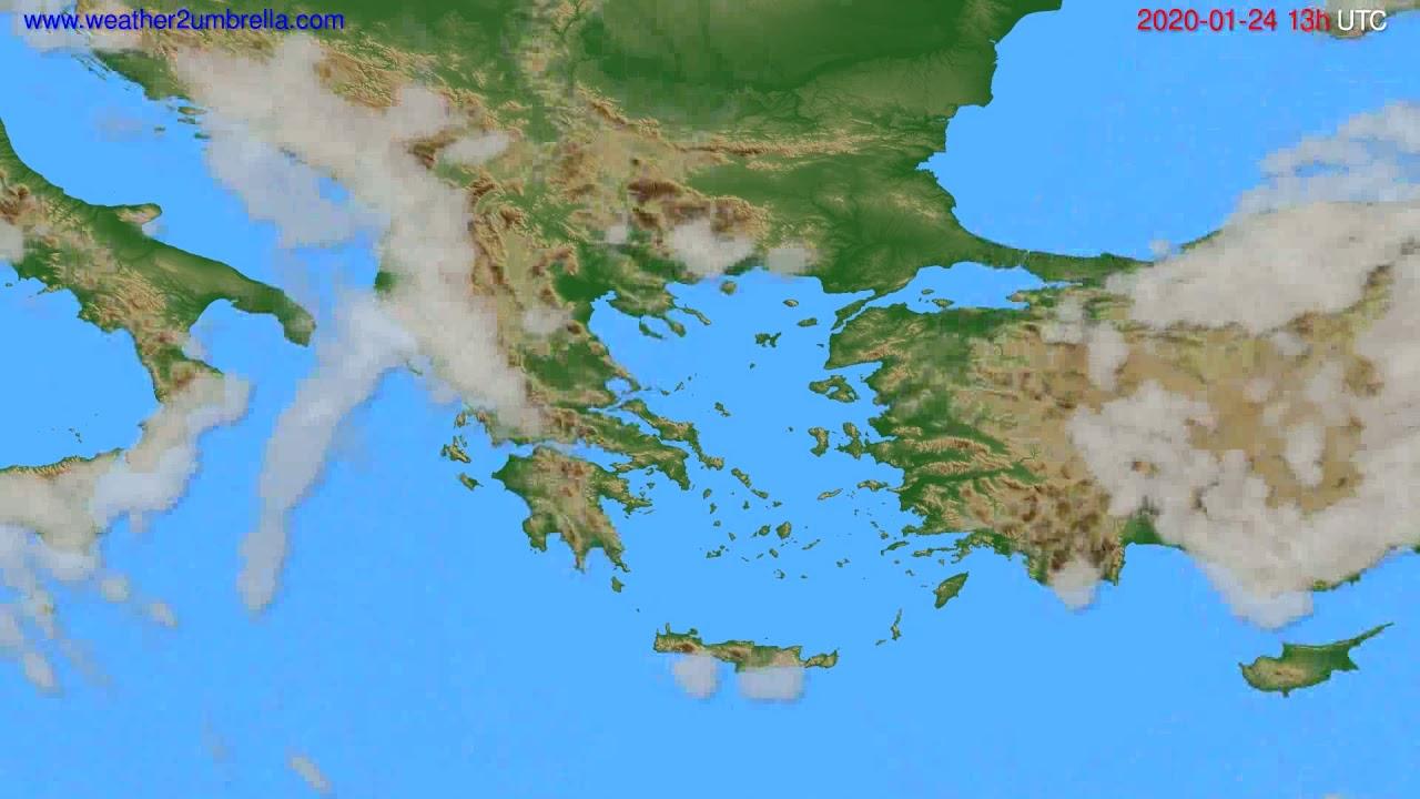 Cloud forecast Greece // modelrun: 12h UTC 2020-01-23