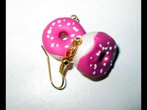 fimo - orecchini a forma di gustose ciambelle