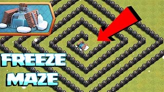YOU WON'T SURVIVE THIS FREEZE MAZE!!!  😀 Clash of clans NEW freeze trap🔸