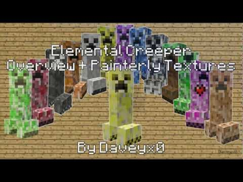 Minecraft Elemental Creepers Mod Overview + Painterly Textures