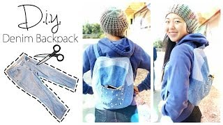 DIY Upcycled Denim Backpack - YouTube