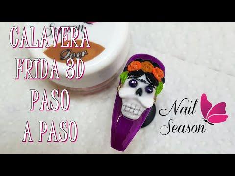 Uñas decoradas - Frida calavera 3d paso a paso uñas acrilicas