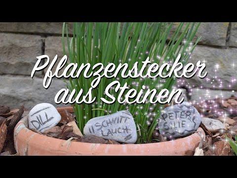 Pflanzenstecker aus Steinen - DIY - für Aussaat, Kräuter, Beet & Frühbeet, Balkon & Garten