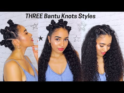 Curly hairstyles - 3 Bantu knot hairstyles for naturally curly hair! HOW TO do Bantu Knots by Lana Summer
