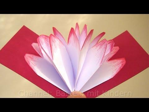 Basteln mit Papier: Pop-Up Karten Blüte - Bastelideen