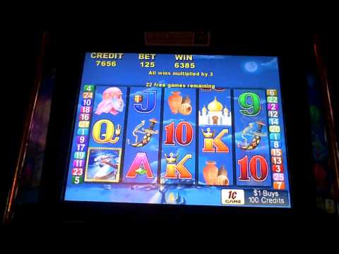 Arabian Nights Slot Machine Bonus Win with a Re-trigger
