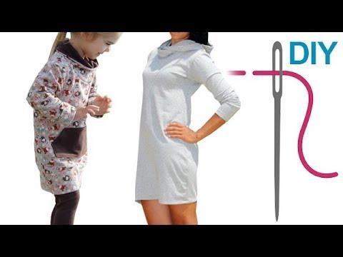 Kleid Anika mit Kapuze oder Schalkragen nähen / Grundkurs Schalkragen nähen