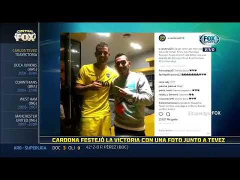 Cardona festejó la victoria con una foto junto a Tevez en sus redes sociales