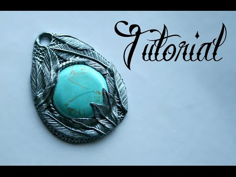 Silver & Turquoise Polymer Clay Feather Pendant Tutorial | DIY Jewellery | Fantasy | Velvetorium